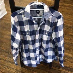 Men's blue checkered button down. Medium.